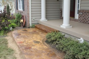 Stunning Stamped Concrete Sidewalk with Split Rock Step and Concrete Stain in Hanover PA