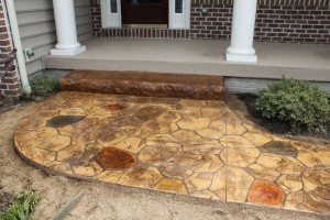 Gorgeous stamped concrete walkway and step in Hanover PA