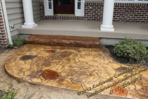 Pennsylvania Stone Stamped Concrete Sidewalk with step