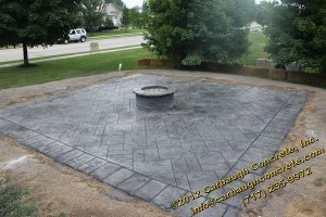 Stamped Concrete Patio with Border and Fire PIt